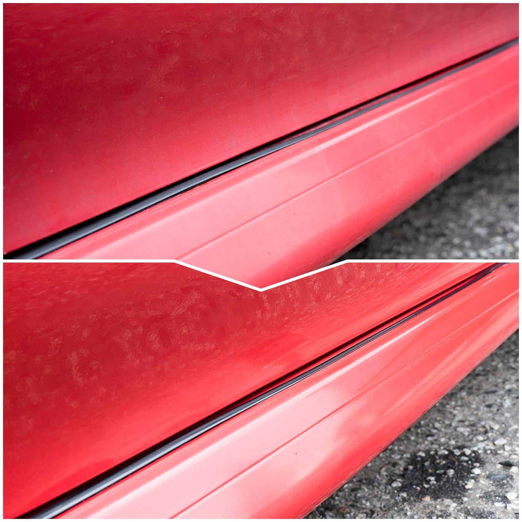Efekt glinkowania samochodu przed i po