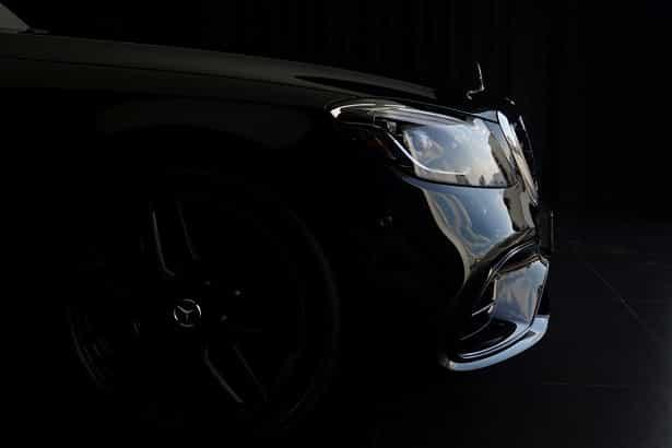 Mercedes S63 AMG z nałożoną powłoką ceramiczną, efekt lustra.