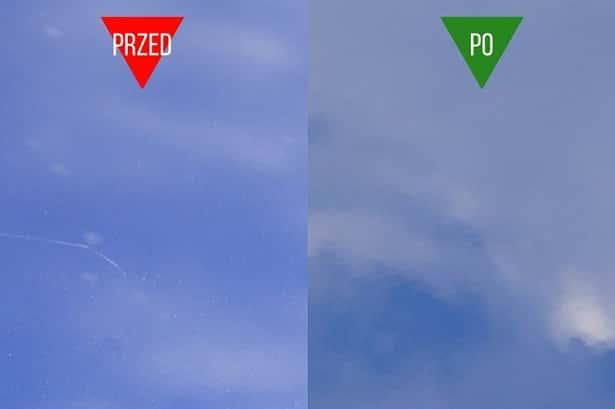 Efekt przed i po zastosowaniu wosku koloryzującego do lakieru, który zamaskował rysy
