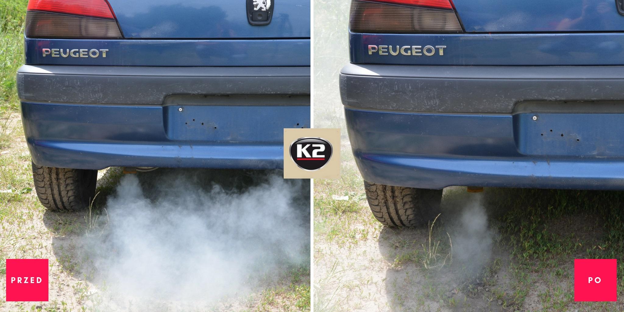 Dymienie przed i po użyciu K2 Moto Doktor