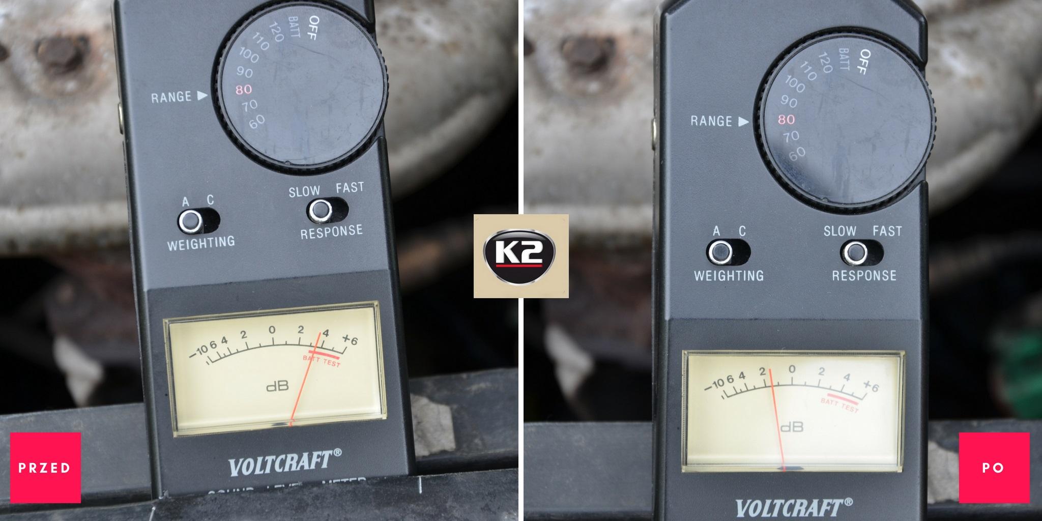 Pomiar hałasu przed i po użyciu K2 Moto Doktor