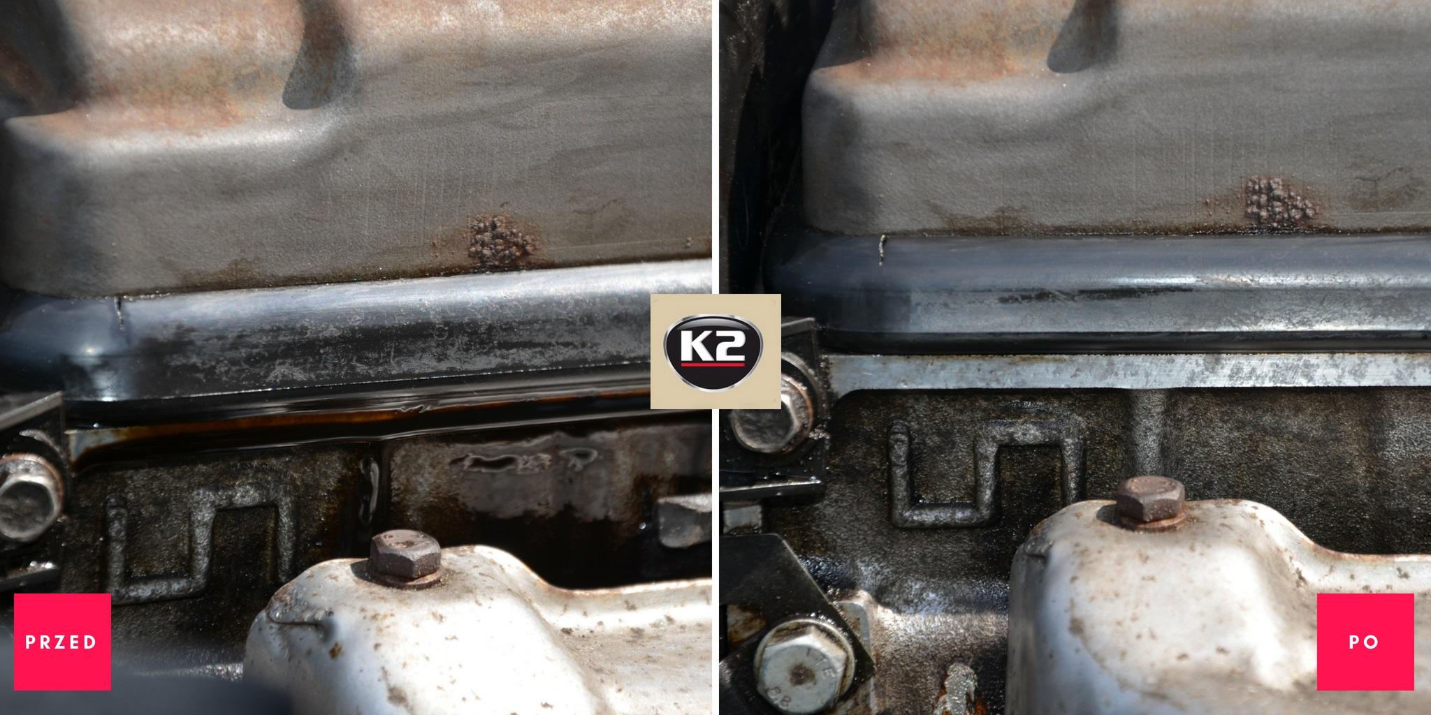 Wyciek oleju przed i po użyciu K2 Moto Doktor