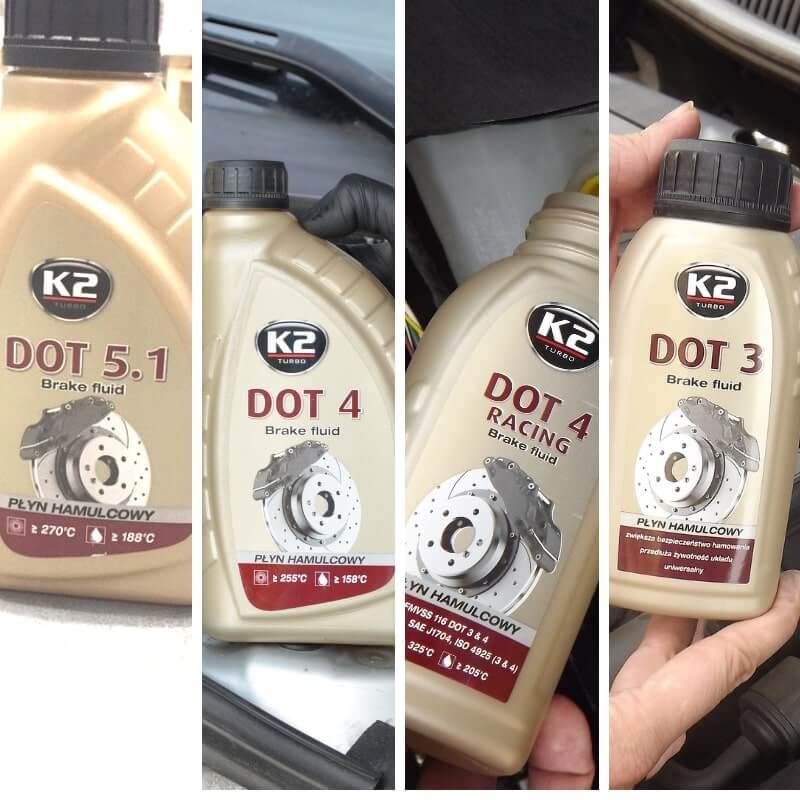 Cztery wersje płynu hamulcowego K2