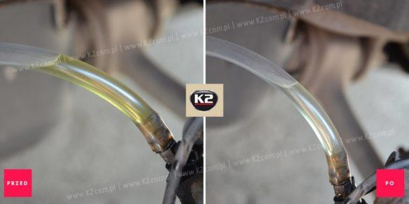 K2 płyn hamulcowy dot 4 efekt przed i po