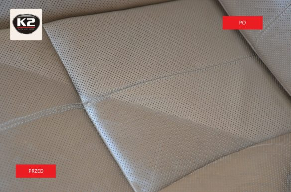 Efekt przed i po zastosowaniu zestawu do czyszczenie skórzanej tapicerki - K2 Auron Strong