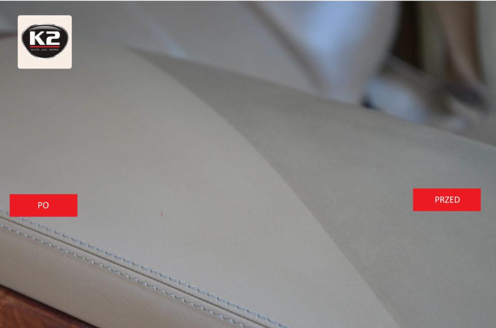 Test czystości skórzanej tapicerki przed i po użyciu zestawu do czyszczenia skór K2 Auron Strong