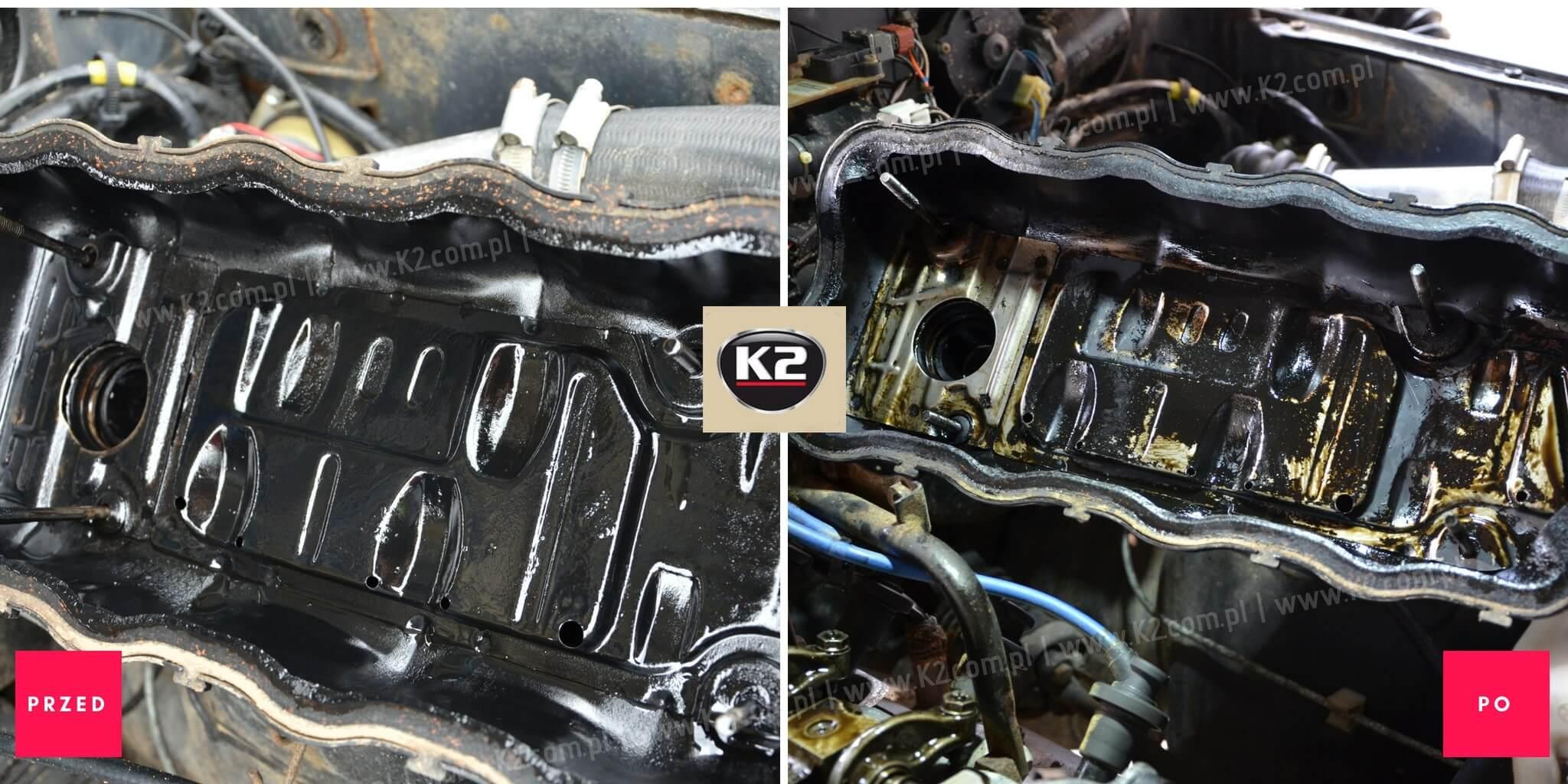 Klapa silnika przed użyciem i po użyciu K2 motor flush