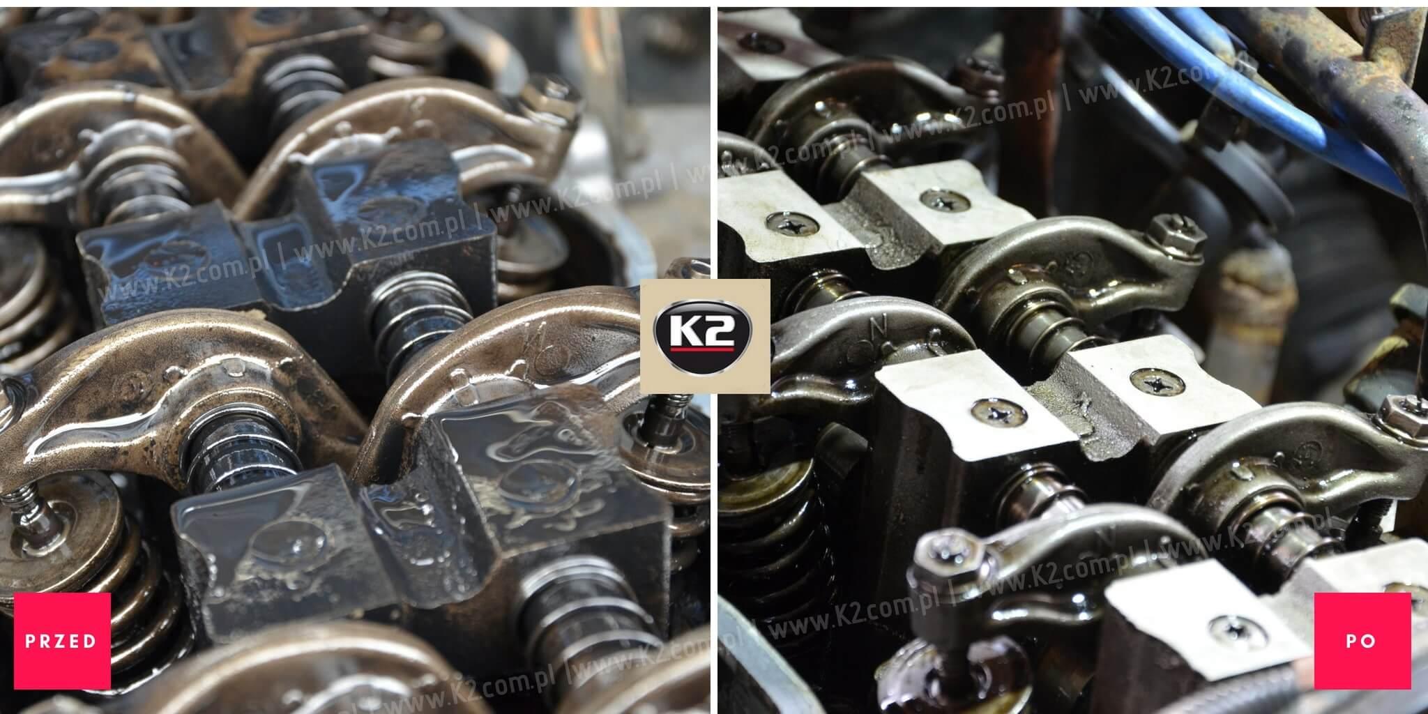 Silnik przed użyciem i po użyciu k2 motor flush