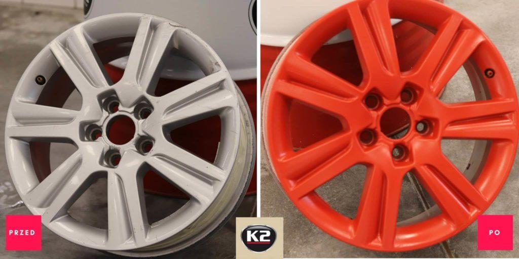 Efekt przed i po malowaniu felg gumą w sprayu K2 Color Flex