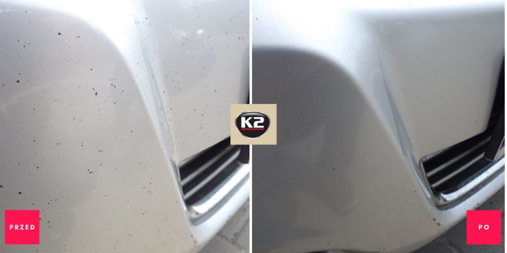 Efekt przed i po użyciu K2 Tar remover