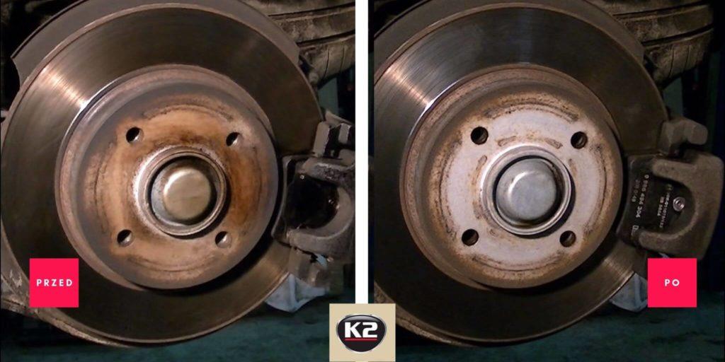 Efekt przed i po zastosowaniu K2 Brake Cleaner