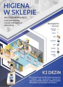 Dezynfekcja powierzchni w sklepie  - Płyn do dezynfekcji z alkoholem K2 Dezin