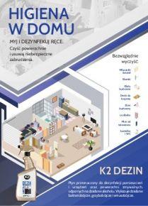 Dezynfekcja powierzchni w domu, mieszkaniu - Płyn z alkoholem K2 Dezin
